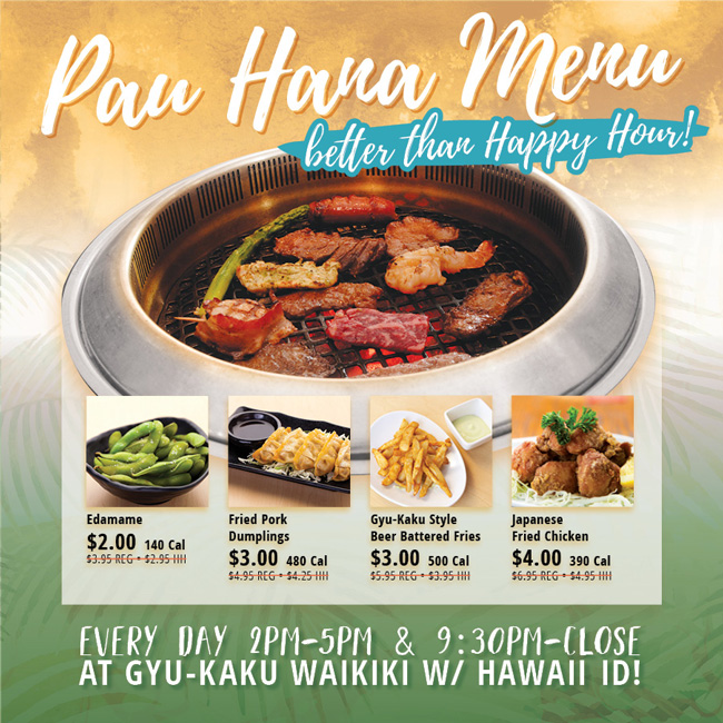 Hawaii Pau Hana Menu