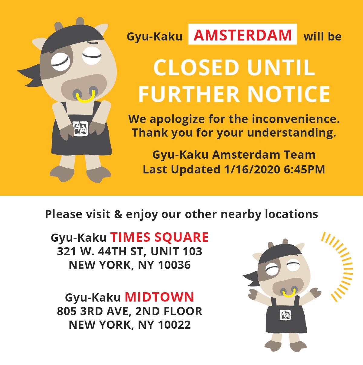 Gyu-Kaku Amsterdam Temporarily Closed