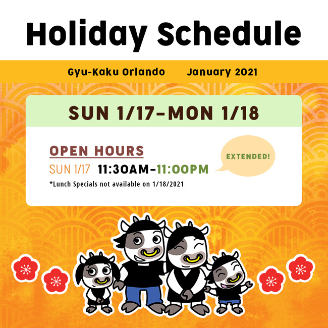 Gyu-Kaku Orlando January Holiday Schedule